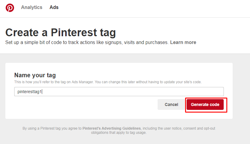 Generate Code Pinterest tag