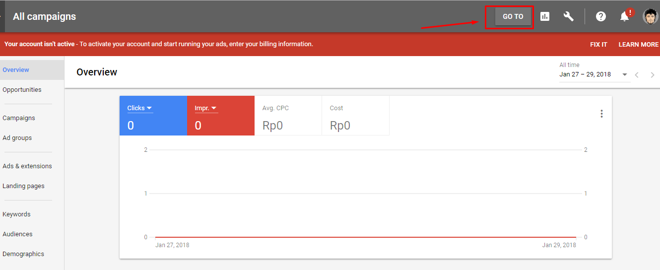 Halaman Dashboard Google Adwords