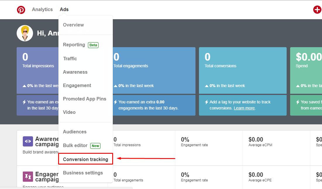 Halaman Dashboard Pinterest Ads Manager