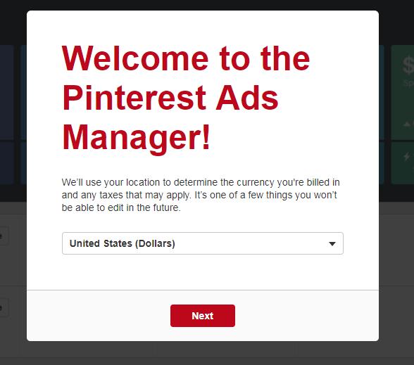 Halaman Pertama Pinterest Ads Manager