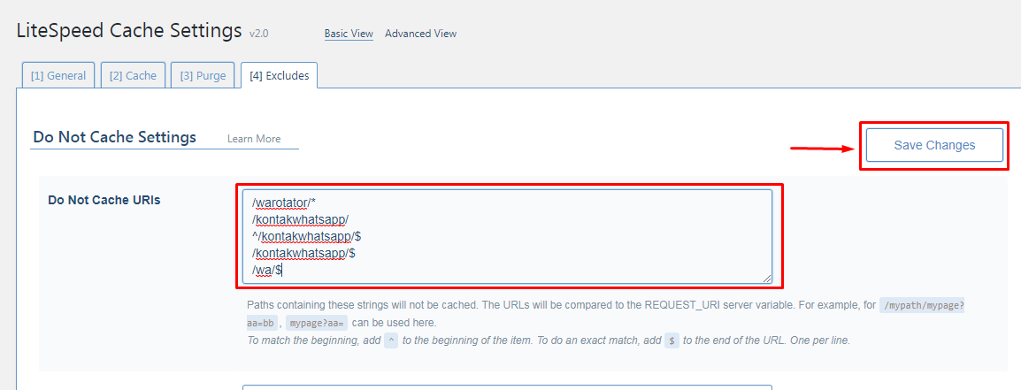 Cara Exclude Link di Plugin LiteSpeed Cache