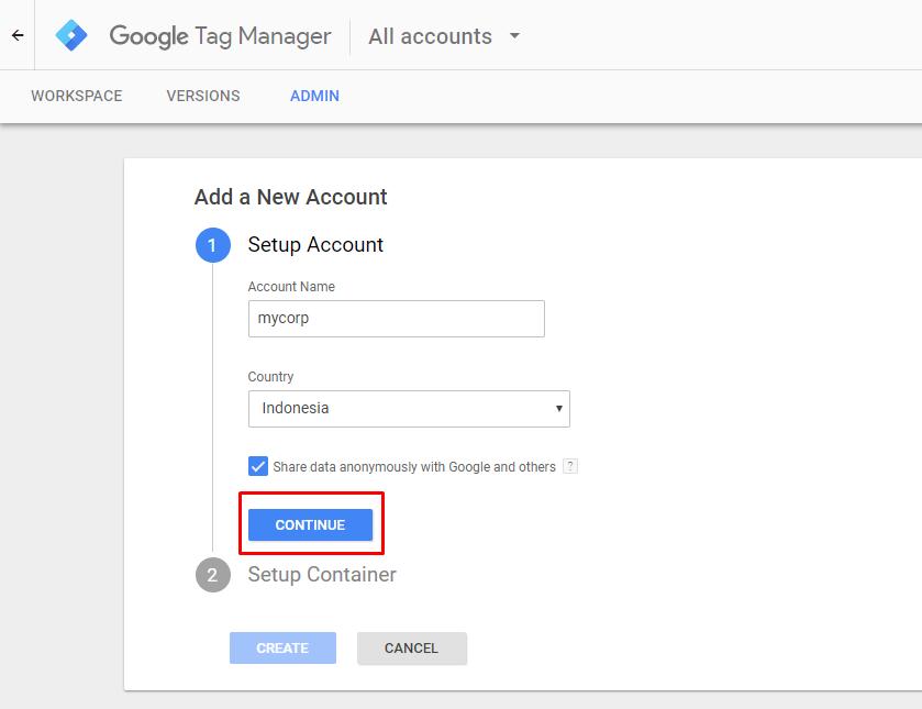 Pembuatan Akun Baru Google Tag Manager