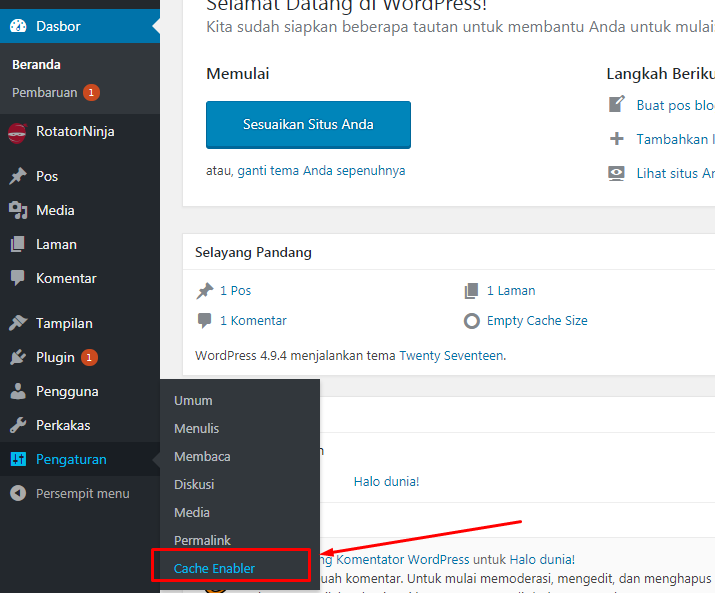 Pengaturan Cache Enabler by KeyCDN